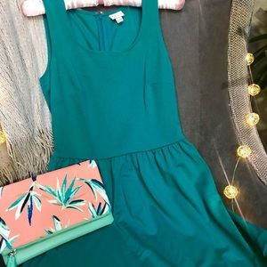 Peacock Teal Sundress with pleated detail on trim